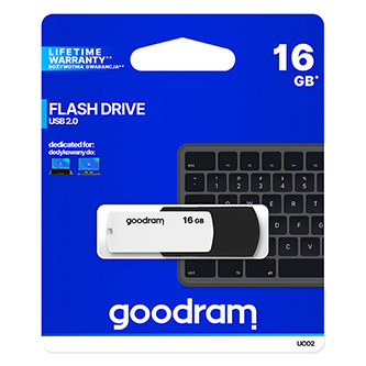 Goodram USB flash disk, 2.0, 16GB, UCO2, černý, UCO2-0160KWR11, podpora OS Win 7