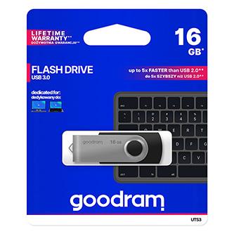 Goodram USB flash disk, USB 2.0, 16GB, UTS2, černý, UTS2-0160K0R11, USB A, s otočnou krytkou