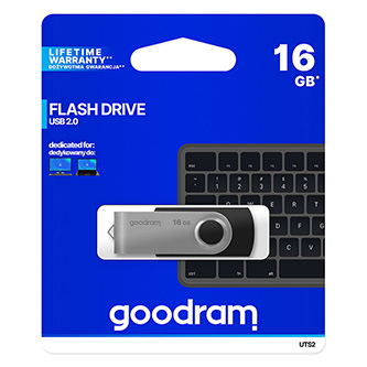 Goodram USB flash disk, 2.0, 16GB, UTS2, černý, UTS2-0160K0R11, podpora OS Win 7