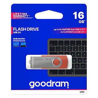 Goodram USB flash disk, USB 3.0 (3.2 Gen 1), 16GB, UCL3, černý, UCL3-0160K0R11, USB A, s výsuvným konektorem