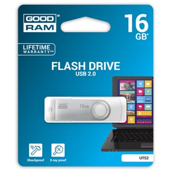 Goodram USB flash disk, 2.0, 16GB, UTS2, bílý, UTS2-0160W0R11, podpora OS Win 7