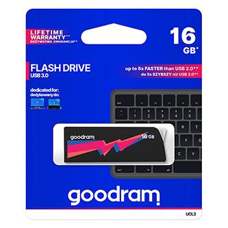Goodram USB flash disk, USB 3.0 (3.2 Gen 1), 16GB, UMM3, černý, UMM3-0160K0R11, USB A, s krytkou