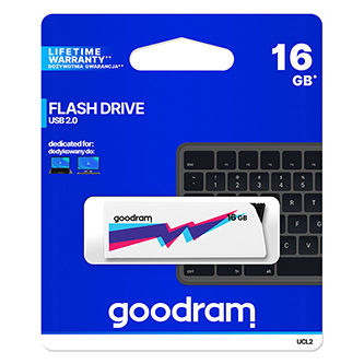 Goodram USB flash disk, 2.0, 16GB, UCL2, bílý, UCL2-0160W0R11, podpora OS Win 7