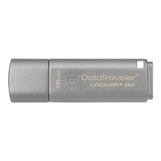 Kingston USB flash disk, 3.0, 16GB, Data Traveler Locker+ G3, stříbrný, DTLPG3/16GB