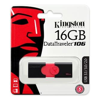 Kingston USB flash disk, 3.1, 16GB, Data Traveler 106, černo-červený, červená, DT106/16GB, vysouvací konektor