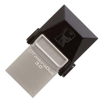Kingston USB Flash DataTraveler microDuo, 3.0/microUSB, 16GB, černý, stříbrný, DTDUO3/16GB