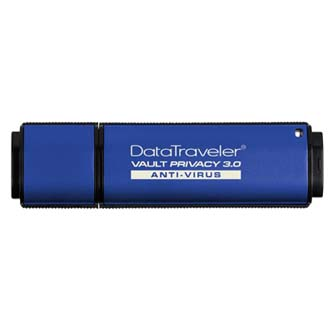 Kingston USB flash disk, 3.0, 16GB, Data Traveler Vault Privacy Anti-Virus, modrý, DTVP30AV/16GB