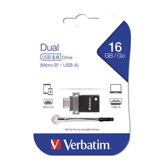 Verbatim USB flash disk, 2.0, 16GB, Dual OTG, černý, 49842
