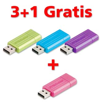 Verbatim USB flash disk, 2.0, 16GB, Store,N,Go PinStripe, cena za 1ks, color mix, Promo balení 3+1