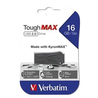 Verbatim USB flash disk, USB 2.0, 16GB, ToughMAX, černý, 49330, USB A, kompozitní materiál KyronMAX(tm)