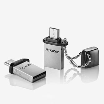 Apacer USB flash disk OTG, 2.0/2.0 Micro, 32GB, AH175, stříbrný, černý, AP32GAH175B-1, s krytkou