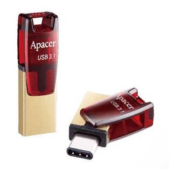 Apacer USB flash disk OTG, USB 3.0 (3.2 Gen 1), 32GB, AH180, červený, AP32GAH180R-1, USB A / USB C, s otočnou krytkou
