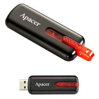 Apacer USB flash disk, 2.0, 32GB, AH326, černý, AP32GAH326B-1, s výsuvným konektorem