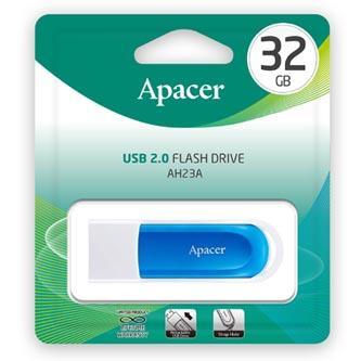 Apacer USB flash disk, USB 2.0, 32GB, AH23A, modrý, AP32GAH23AW-1, USB A, s vysuvným konektorem a očkem na poutko