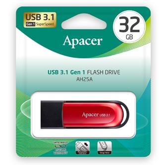 Apacer USB flash disk, USB 3.0 (3.2 Gen 1), 32GB, AH25A, červený, AP32GAH25AB-1, USB A, s výsuvným konektorem a očkem na poutko