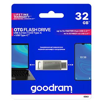Goodram USB flash disk, USB 3.0 (3.2 Gen 1), 32GB, ODA3, stříbrný, ODA3-0320S0R11, USB A / USB C, s otočnou krytkou