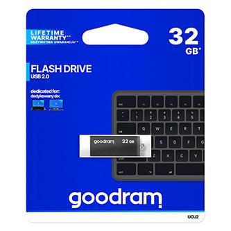 Goodram USB flash disk, USB 2.0, 32GB, UCU2, černý, UCU2-0320K0R11, USB A, s otočnou krytkou