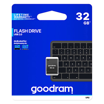 Goodram USB flash disk, 2.0, 32GB, UPI2, černý, UPI2-0320K0R11, podpora OS Win 7