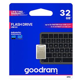 Goodram USB flash disk, USB 3.0 (3.2 Gen 1), 32GB, UPO3, stříbrný, UPO3-0320S0R11, USB A, s poutkem