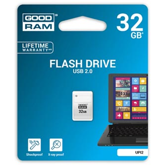 Goodram USB flash disk, 2.0, 32GB, UPI2, bílý, UPI2-0320W0R11, podpora OS Win 7