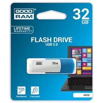 Goodram USB flash disk, 2.0, 32GB, UCO2, modrý, UCO2-0320MXR11, podpora OS Win 7