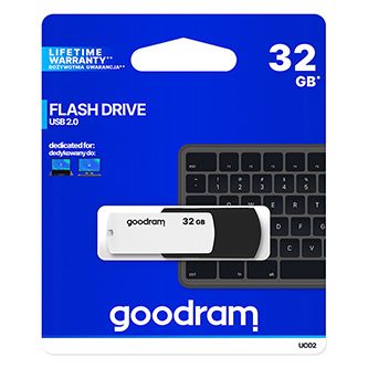 Goodram USB flash disk, 2.0, 32GB, UC02, black and white, UCO2-0320KWR11, podpora OS Win 7