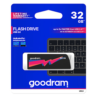 Goodram USB flash disk, USB 3.0 (3.2 Gen 1), 32GB, UCL3, černý, UCL3-0320K0R11, USB A, s výsuvným konektorem