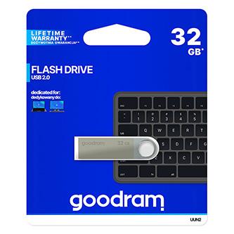 Goodram USB flash disk, USB 2.0, 32GB, UUN2, stříbrný, UUN2-0320S0R11, USB A, s poutkem