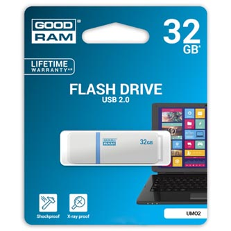 Goodram USB flash disk, 2.0, 32GB, UMO2, bílý, UMO2-0320W0R11