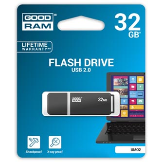 Goodram USB flash disk, 2.0, 32GB, UMO2, černý, UMO2-0320E0R11