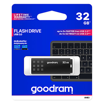 Goodram USB flash disk, USB 3.0 (3.2 Gen 1), 32GB, UME3, černý, UME3-0320K0R11, USB A, s krytkou
