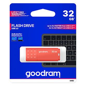 Goodram USB flash disk, USB 3.0 (3.2 Gen 1), 32GB, UME3, oranžový, UME3-0320O0R11, USB A, s krytkou
