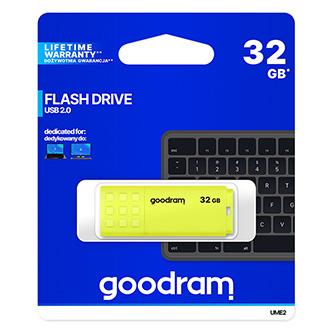 Goodram USB flash disk, USB 2.0, 32GB, UME2, žlutý, UME2-0320Y0R11, USB A, s krytkou