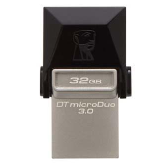 Kingston USB Flash DataTraveler microDuo, 3.0/microUSB, 32GB, černý, stříbrný, DTDUO3/32GB