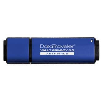 Kingston USB flash disk, 3.0, 32GB, Data Traveler Vault Privacy Anti-Virus, modrý, DTVP30AV/32GB