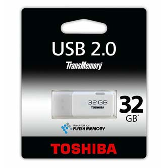 Toshiba USB flash disk, 2.0, 32GB, U202, Hayabusa, bílý, THN-U202W0320E4, podpora OS Win 7