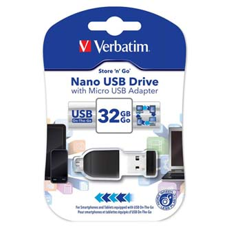 Verbatim USB flash disk, 2.0, 32GB, Nano Store ,N, Stay, s adaptérem Micro USB, černý, 49822