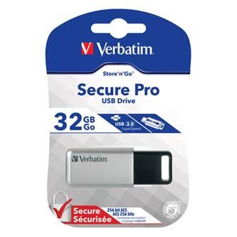 Verbatim USB flash disk, 3.0, 32GB, Secure Pro, stříbrný, 98665, šifrovaný, GDPR