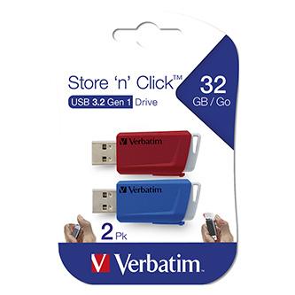 Verbatim USB flash disk, USB 3.0 (3.2 Gen 1), 32GB, Store N Click, mix barev, 49308, USB A, s výsuvným konektorem, 2ks