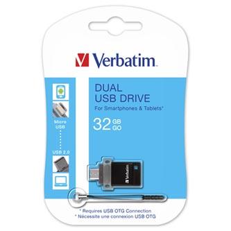 Verbatim USB flash disk, USB 2.0, 32GB, Dual OTG, černý, 49843, USB A / USB Micro B, s poutkem