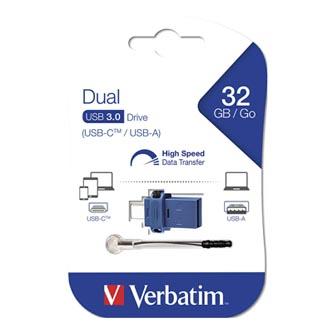 Verbatim USB flash disk OTG, 3.0/3.0 Typ C, 32GB, modrý, 49966, šňůrkou přivázaný uzávěr USB 3.0/USB 3.0 Micro Typ C