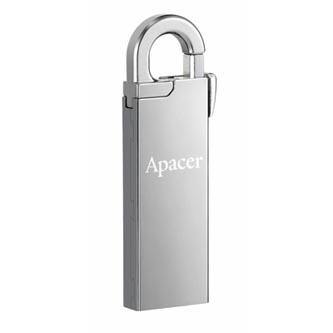 Apacer USB flash disk, USB 2.0, 64GB, AH13A, stříbrný, AP64GAH13AS-1, USB A, s karabinkou