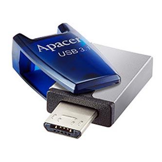 Apacer USB flash disk OTG, USB 3.0 (3.2 Gen 1), 64GB, AH179, modrý, AP64GAH179U-1, USB A / USB Micro B, s otočnou krytkou