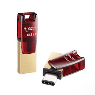 Apacer USB flash disk OTG, 3.1/3.1 Typ C, 64GB, AH180, zlatý, červený, AP64GAH180R-1, s krytkou