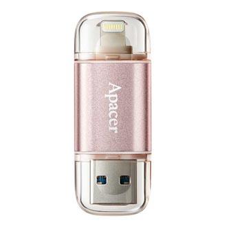 Apacer USB flash disk OTG, USB 3.0 (3.2 Gen 1), 64GB, AH190, růžový, AP64GAH190H-1, USB A / Lightning, s krytkou