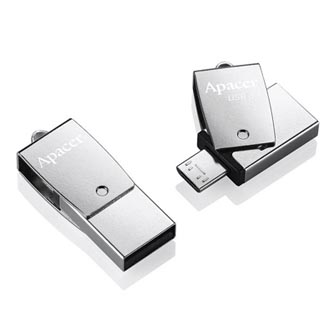 Apacer USB flash disk OTG, USB 3.0 (3.2 Gen 1), 64GB, AH750, stříbrný, AP64GAH750S-1, USB A / USB Micro  B, s otočnou krytkou