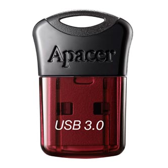 Apacer USB flash disk, USB 3.0 (3.2 Gen 1), 64GB, AH157, červený, AP64GAH157R-1, USB A, s krytkou