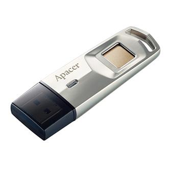 Apacer USB flash disk, USB 3.0 (3.2 Gen 1), 64GB, AH651, stříbrný, AP64GAH651S-1, USB A, s čteckou otisku prstu