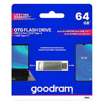Goodram USB flash disk, USB 3.0 (3.2 Gen 1), 64GB, ODA3, stříbrný, ODA3-0640S0R11, USB A / USB C, s otočnou krytkou