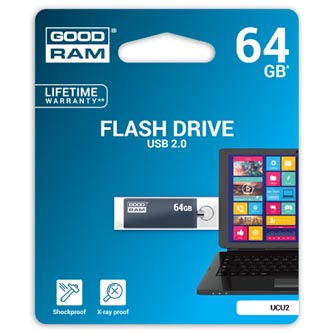 Goodram USB flash disk, 2.0, 64GB, UCU2, šedý, UCU2-0640E0R11